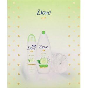 Dove Geschenk Go Fresh Komkommer Douchegel + Deospray + Puff 8710522342800