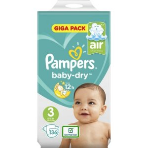 Pampers Baby Dry 3 136 luiers 4015400833444