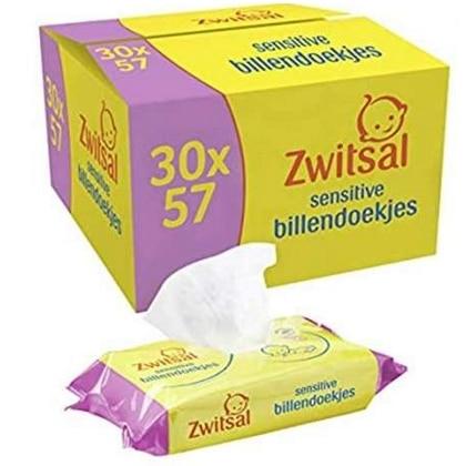 Zwitsal Billendoekjes Sensitive - Box 30 packs x 57 st 8720181061516