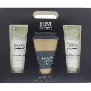 Therme Geschenk - Zen White Lotus Douche, Scrub en Koffiemok 8714319208355