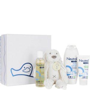Geschenk Neutral Baby Wasgel, Huidolie, Zinkzalf & Knuffel 8717163730317